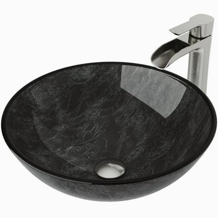 Vigo Gray Onyx Glass Vessel Bathroom Sink and Niko Faucet Set in Brushed Nickel Finish ()