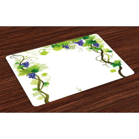 Vineyard Placemats Set of 4 Vineyard with Swirled Leaves Freshness Fruit Garden Harvest Season Wine Growth Theme, Washable Fabric Place Mats for Dining Room Kitchen Table Decor,Green, by Ambesonne