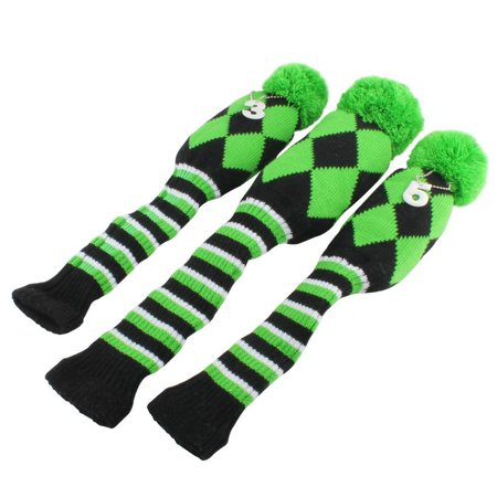 Golf Club Knit Head Cover 3pcs Headcover Set Vintange Pom Pom Sock