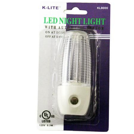 1 Sensor Night Light Plug In Automatic Lite Round Lamp Power Nighlight Closet