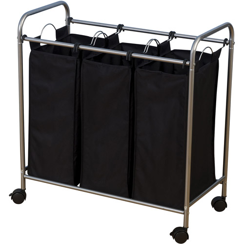 Household Essentials Rolling Triple Sorter Laundry Hamper with 3 Lift-Out Bags