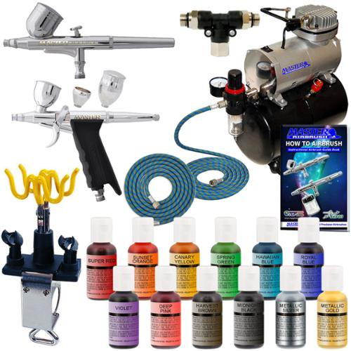 CAKE DECORATING AIRBRUSH KIT Compressor w/ 12 Color Chefmaster ...