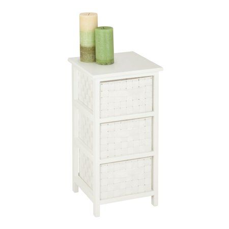 Honey Can Do Storage Chest with 3 Wicker Drawers, White ()