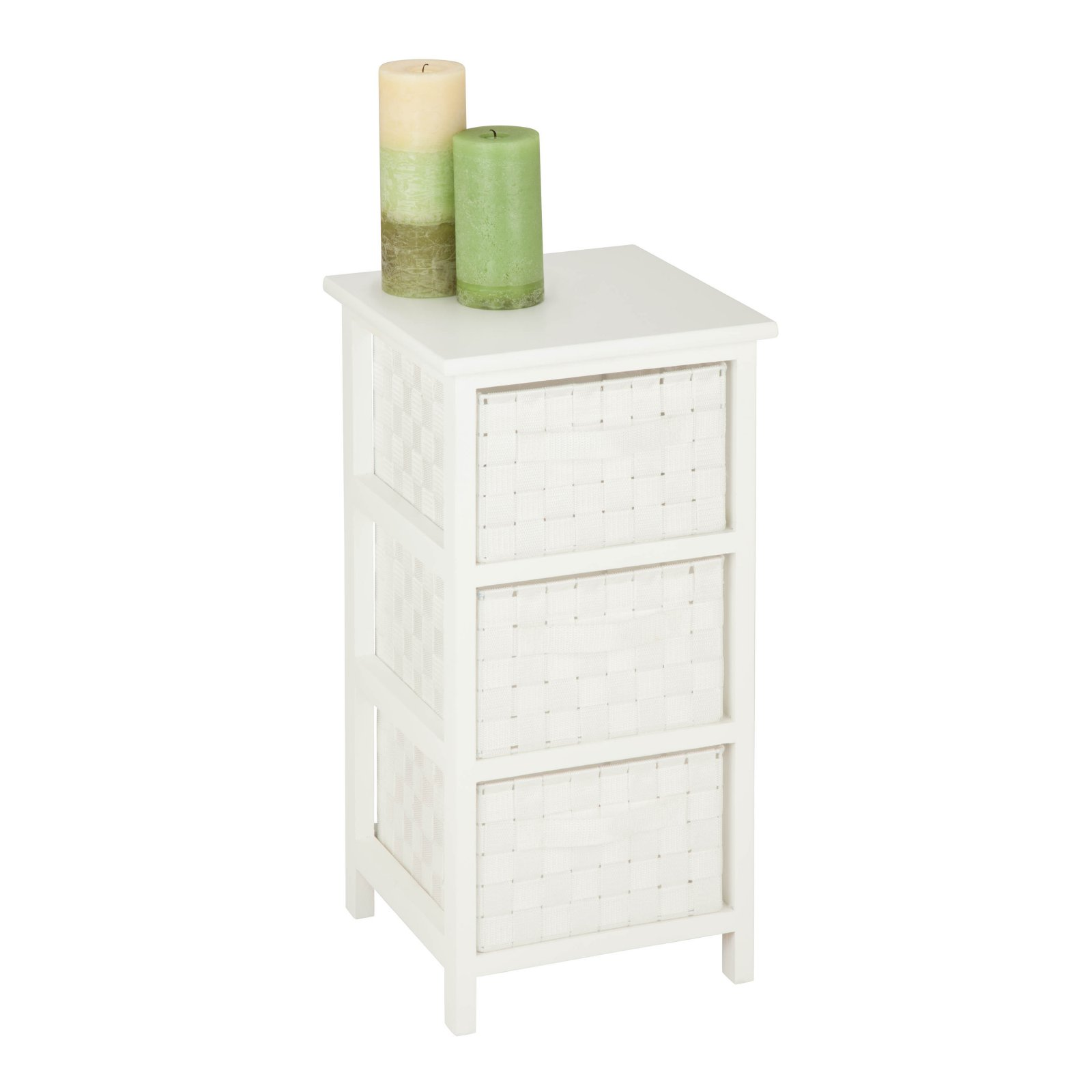 Honey Can Do Storage Chest With 3 Wicker Drawers, White