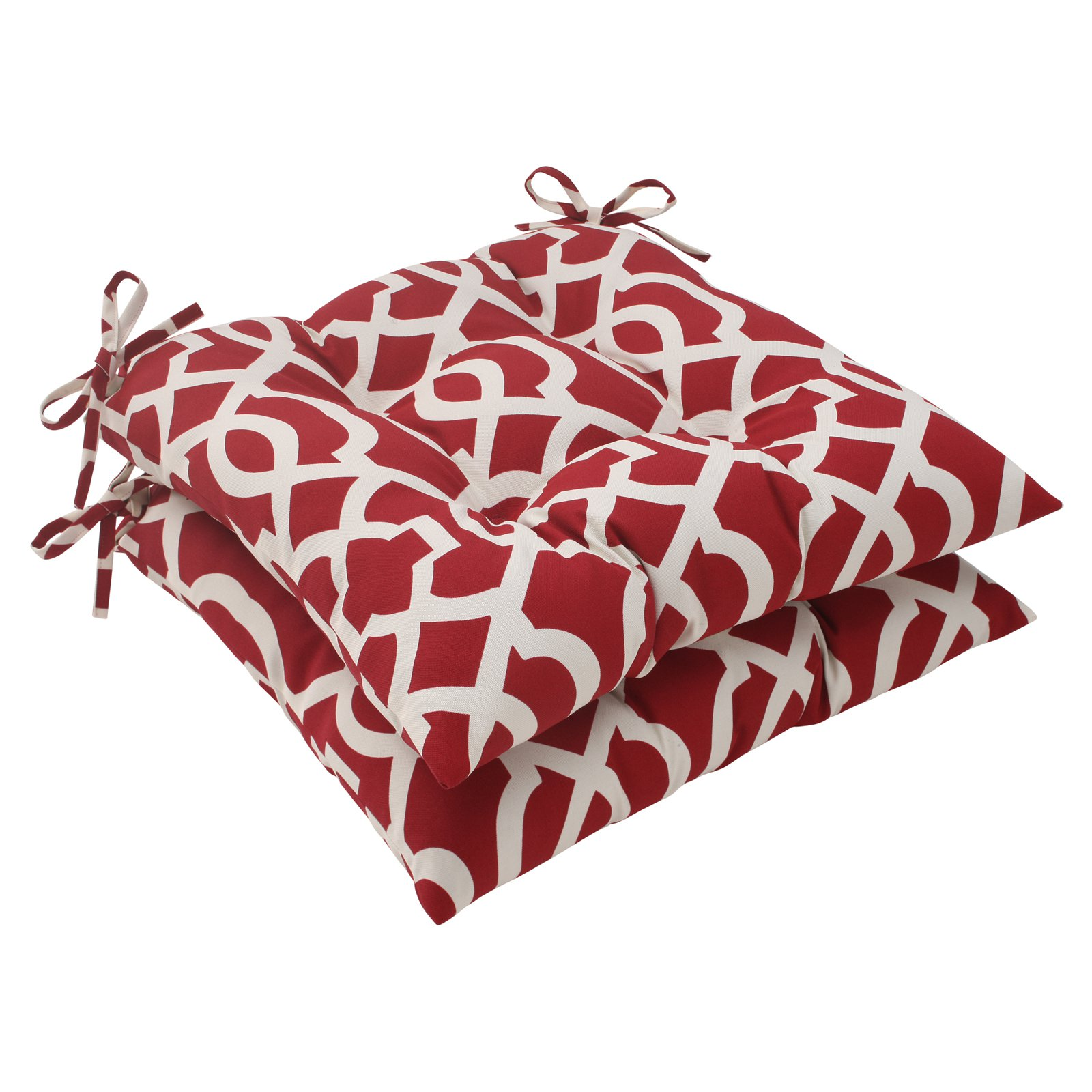 Pillow Perfect Outdoor/ Indoor New Geo Red Wrought Iron Seat Cushion (Set of 2)