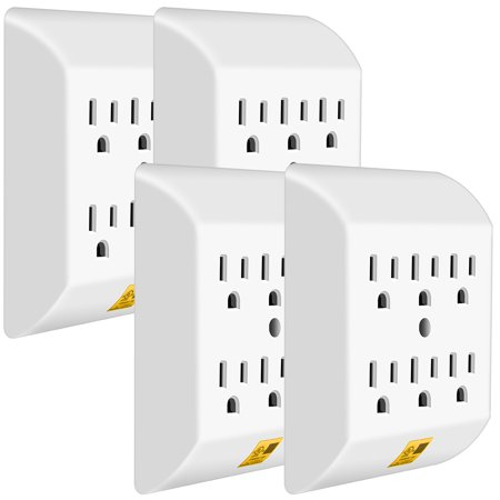 Multi Plug Outlet 4 PACK, ANKO Wall Mount power strip with 6 Outlet Tap(4 PACK)