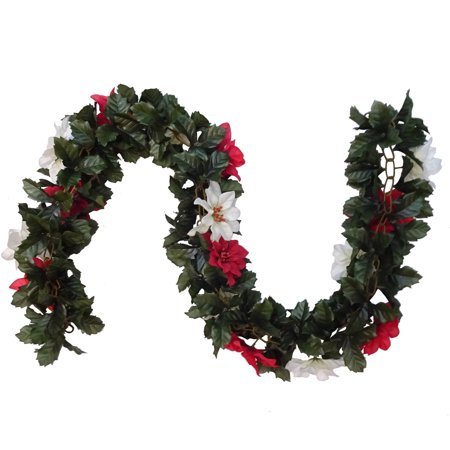Red and White Poinsettia Chain Garland
