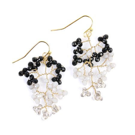 - Women's Two-Tone Wired Bead Drop Dangle Earrings
