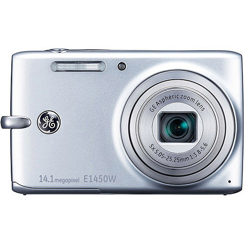 "GE E1450W 14.1MP Silver Digital Camera w/ 5x Optical Zoom, 2.7"" LCD Display"