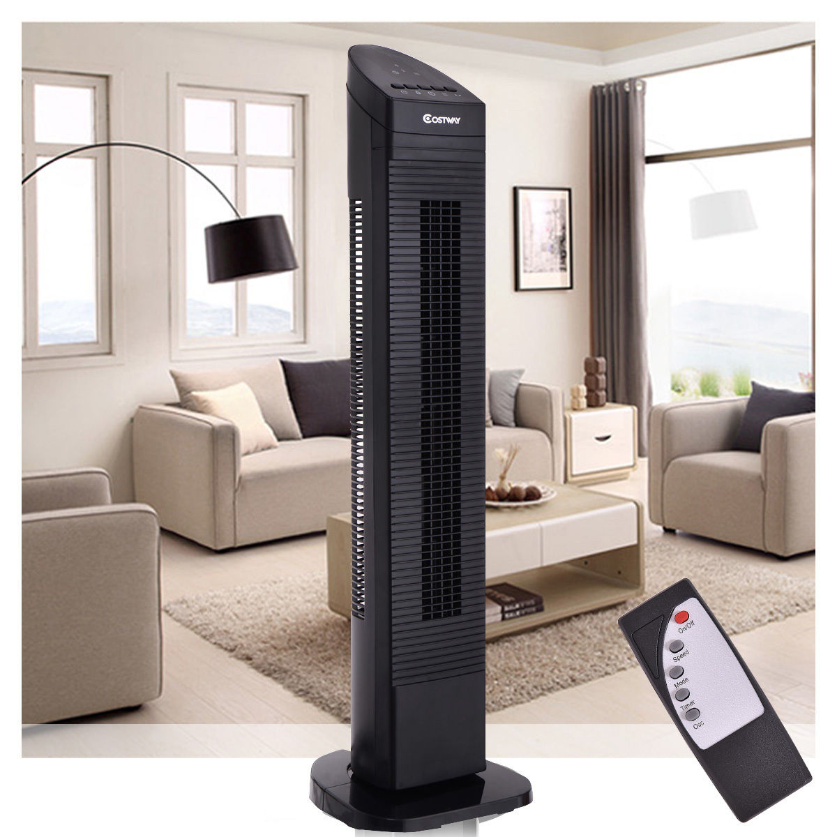 Costway 35'' Tower Fan Portable Oscillating Cooling Bladeless 3 Speed
