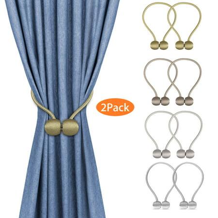 (2-pack) EEEkit Magnetic Curtain Tiebacks, Elegant Pearl Ball Magnetic Buckle, Drape Holders Holdbacks Decorative Handmade Rope Clips ()