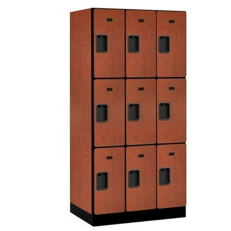 Salsbury 33361CHE Designer Wood Locker Triple Tier - 3 Wide - 6 Feet High - 21 Inches Deep - Cherry