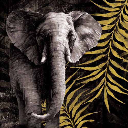 Tribal Elephant Safari Jungle Leaves Texture Painting Black & Yellow Canvas Art by Pied Piper Creative