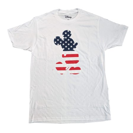 Men's Mickey Mouse American Flag July Fourth Theme Crewneck Tshirt, White (M) - Mickey Mouse Themed Food