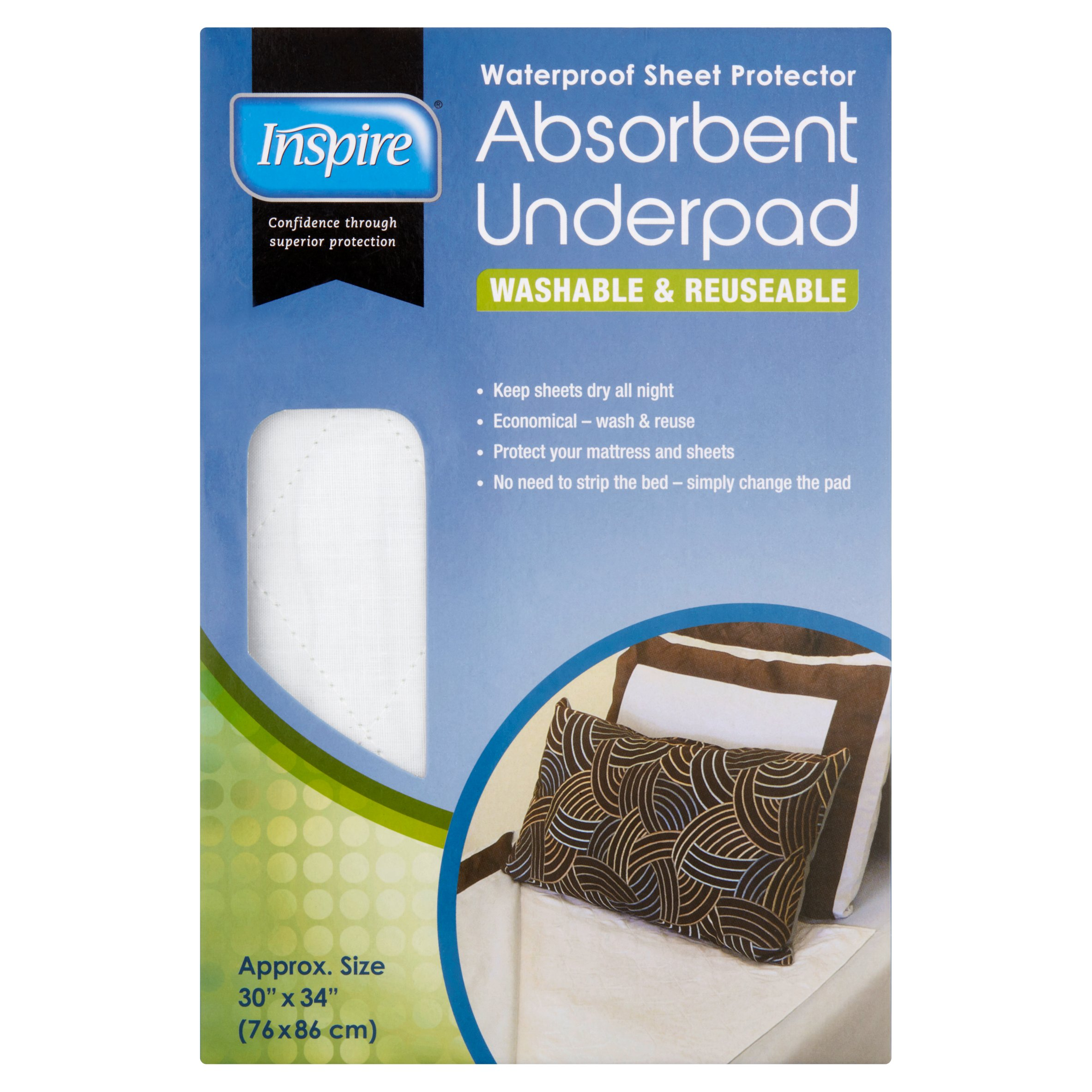 Inspire Washable and Reuseable Absorbent Underpad - 30''X34''
