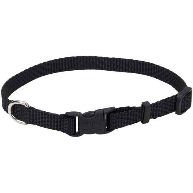 0.37 x 8 - 12 in. Adjustable Nylon Dog Collar with Tuff Buckle, Black