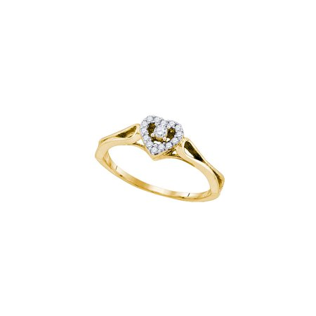 10kt Yellow Gold Womens Round Diamond Heart Love Promise Bridal Ring 1/8 Cttw - image 1 de 1