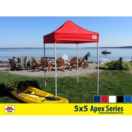 5x5 Apex Series 3 Commercial Pop Up Canopy with Classic Red 600D top