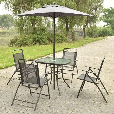 Costway Patio Garden Set Furniture with Folding Chairs Table with Umbrella Gray ()