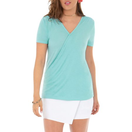 - Women's Short Sleeved Cross Front Wrap Top