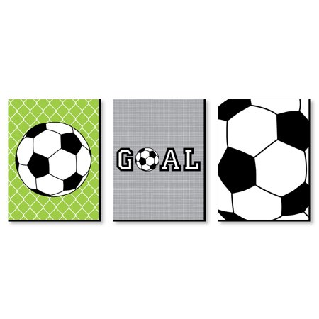"GOAAAL! - Soccer - Sports Themed Wall Art & Kids Room Decor - 7.5"" x 10"" - Set of 3 Prints"