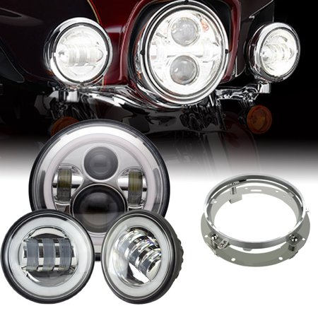 Headlight Mounting - 7In Chrome Round Led Headlights DRL Mounting Bracket Ring+ 4.5