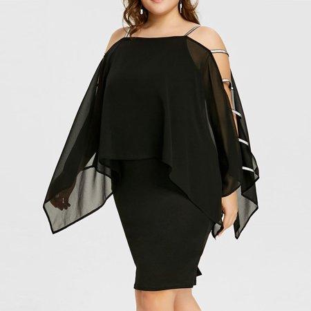 Female Plus Size Ladder Cut Overlay Asymmetric Chiffon Strapless Mini Dress
