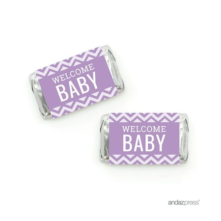 Lavender Chevron Baby Shower Hershey´s Miniatures Mini Candy Bar Wrappers, 36-Pack](Candy Wrappers Halloween)