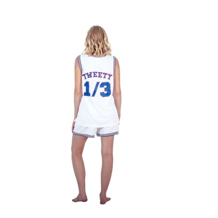 Space Jam Outfit (Space Jam Tune Squad Logo Tweety #1/3 White Basketball Jersey (Adult)