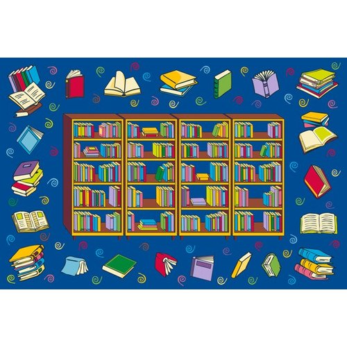 Educational Rugs Cheap: Fun Rugs Reading Time Kids' Rug, Blue