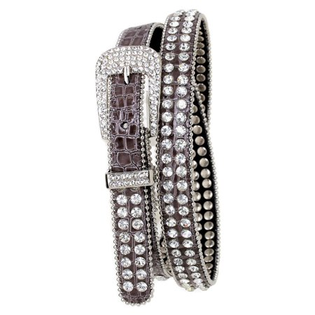 - Grey Double Row Rhinestone Studded Leather Belt, M/L