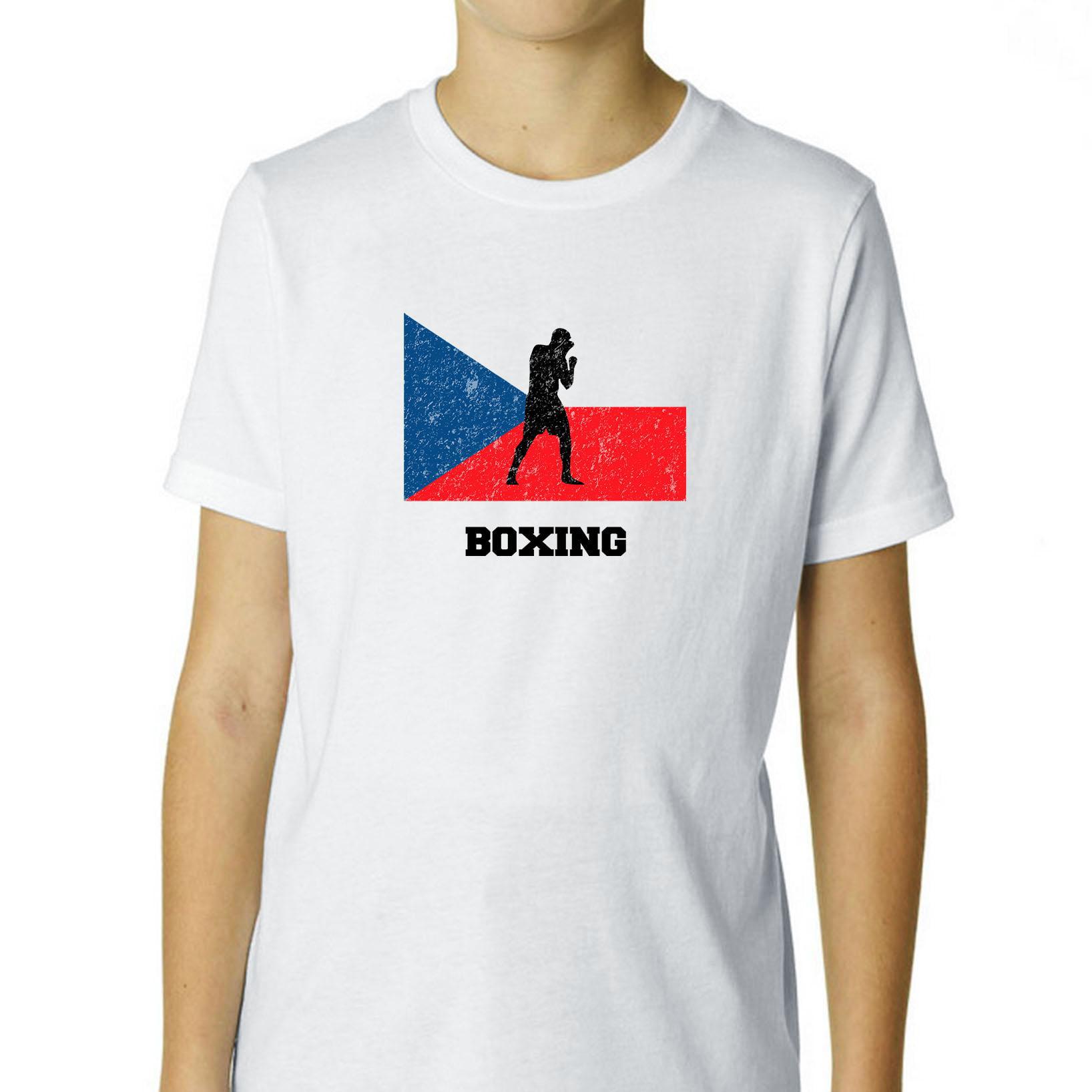 Czech Republic Olympic - Boxing - Flag - Silhouette Boy's Cotton Youth T-Shirt