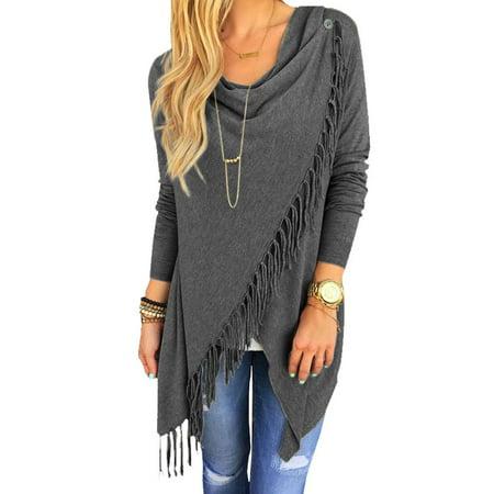 - Nlife Women's Long Sleeve Tassle Wrapped Poncho Coat