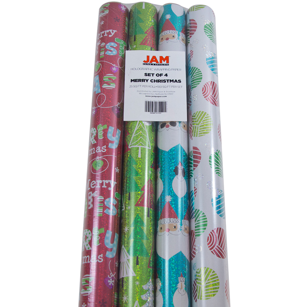 JAM Paper Christmas Design Wrapping Paper- 100 Sq Ft, Holographic Merry Christmas Set, 4/Pack