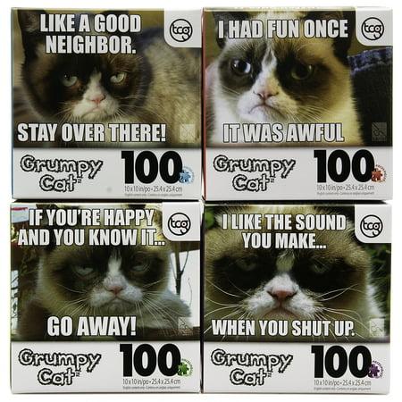 Set Of 4 Official Grumpy Cat 100Pc Jigsaw Puzzles Funny Meme Kids Adults Tweens Bundle
