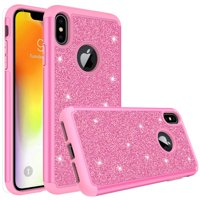 Apple iPhone Xs Max Case, Glitter Cute Phone Case[Screen Protector] Bling Diamond Rhinestone Bumper Silicone Sparkly Girls Women Hot Pink