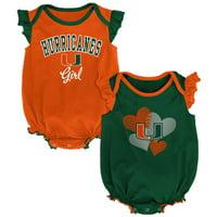 Miami Hurricanes Newborn & Infant Celebration 2-Pack Bodysuit Set - Green