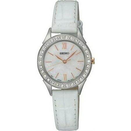 Seiko Women's SXGP33 Mother of Pearl Dial White Leather Quartz Watch Pearl Dial Leather Lizard