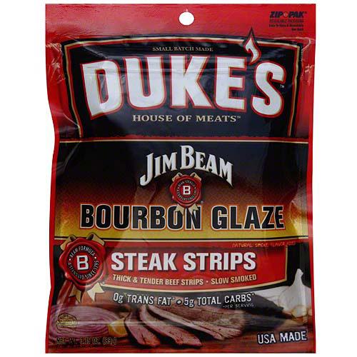 Duke's House Of Meats Jim Beam Bourbon Glaze Steak Strips, 3.15 oz (Pack of 8)