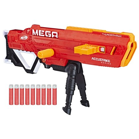 Nerf N-strike Mega Accustrike Thunderhawk with 10 Nerf Mega Darts, 10-Dart Clip, and Bipod