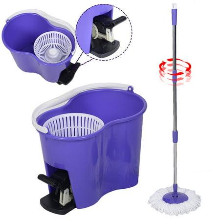Costway Microfiber Spinning Mop Easy Floor Mop W/Bucket 2 Heads 360 Rotating Head - Purple Mop