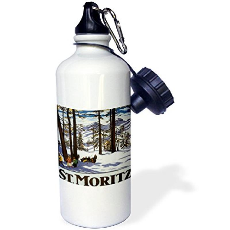 3dRose St. Moritz Winter Scene with People Skiing and Horse Drawn Sleigh, Sports Water Bottle, 21oz by Supplier Generic