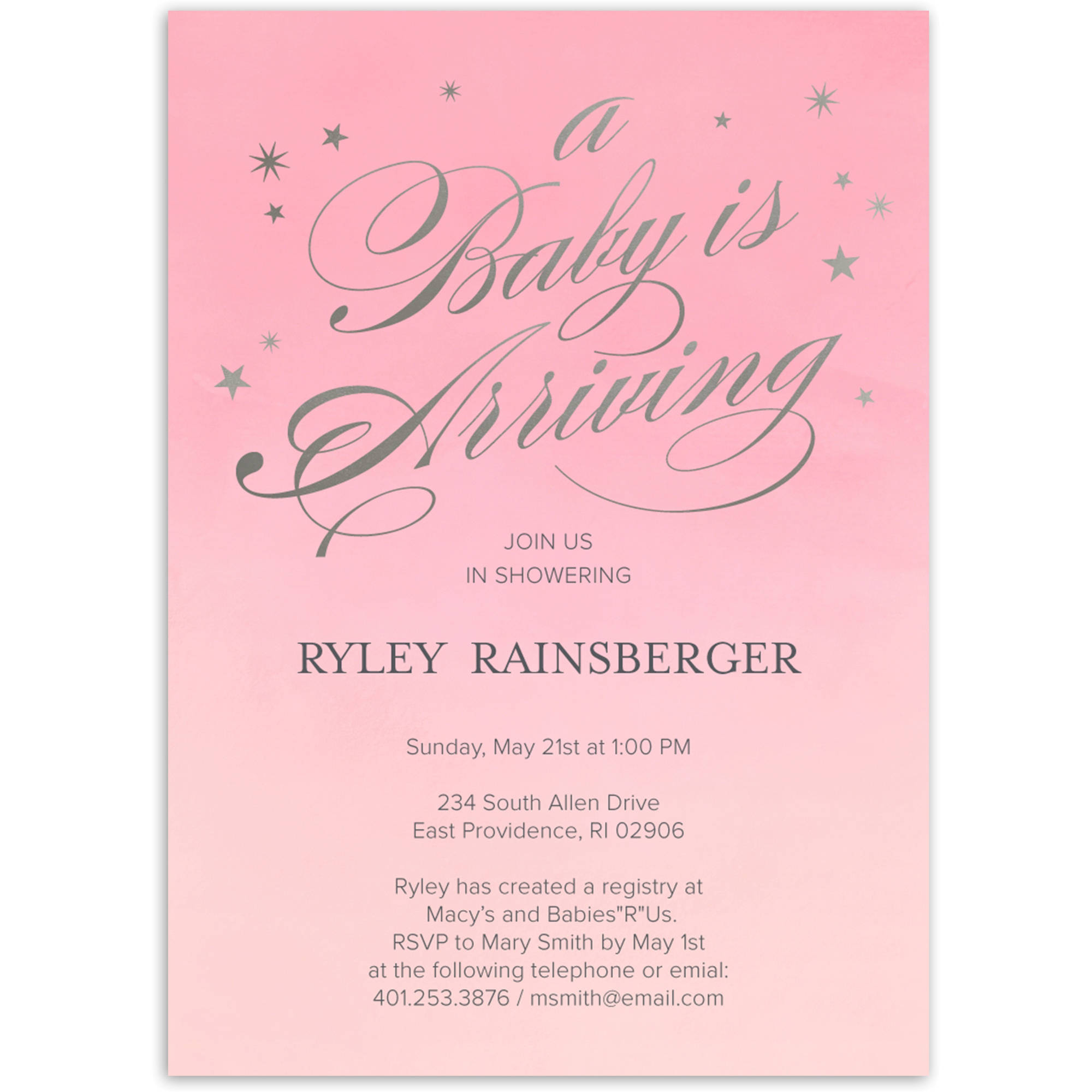 Starry Script Baby Invitation