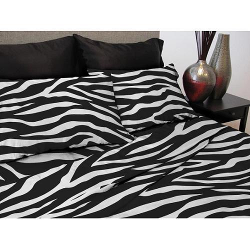 Satin Zebra Printed Sheet Set Queen