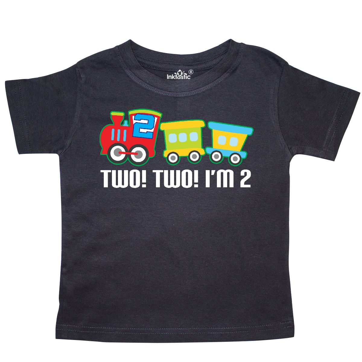 Inktastic 2nd Birthday Two Two Train Outfit Toddler T-Shirt Second 2 Im Engine