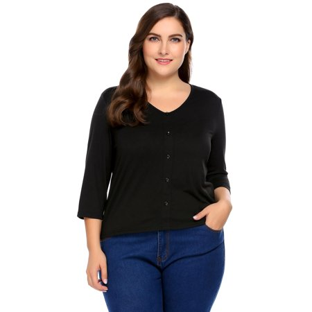 96bf18d48df6 Women Plus Sizes Casual V-Neck 3/4 Sleeve Button Front Solid T-Shirt HITC -  Walmart.com