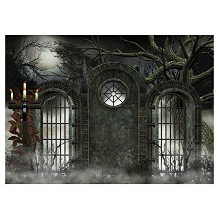 ABPHOTO Polyester Photography Background Photo Backdrops Magic Theme Photography Studio background Horror Night Fog Foggy Grids Iron Gate, Trees, Candles, Moon for Halloween - Halloween Foggy Night