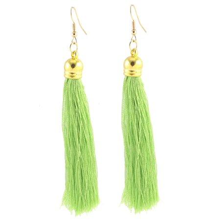 Long Tassel Fringe Boho Style Dangling Fish Hook Earrings Eardrop Pair Green