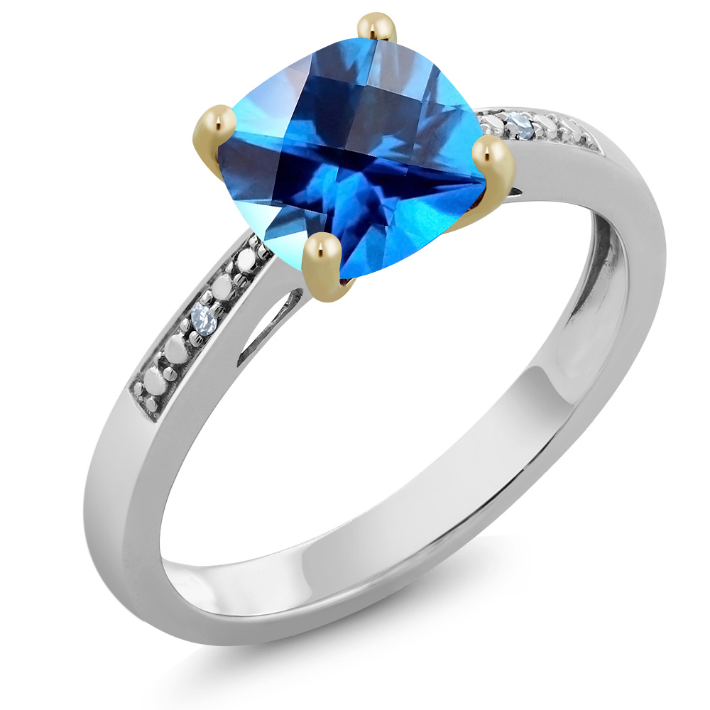 10K 2-Tone Gold Diamond Ring Set with Cushion Kashmir Blue Topaz from Swarovski by