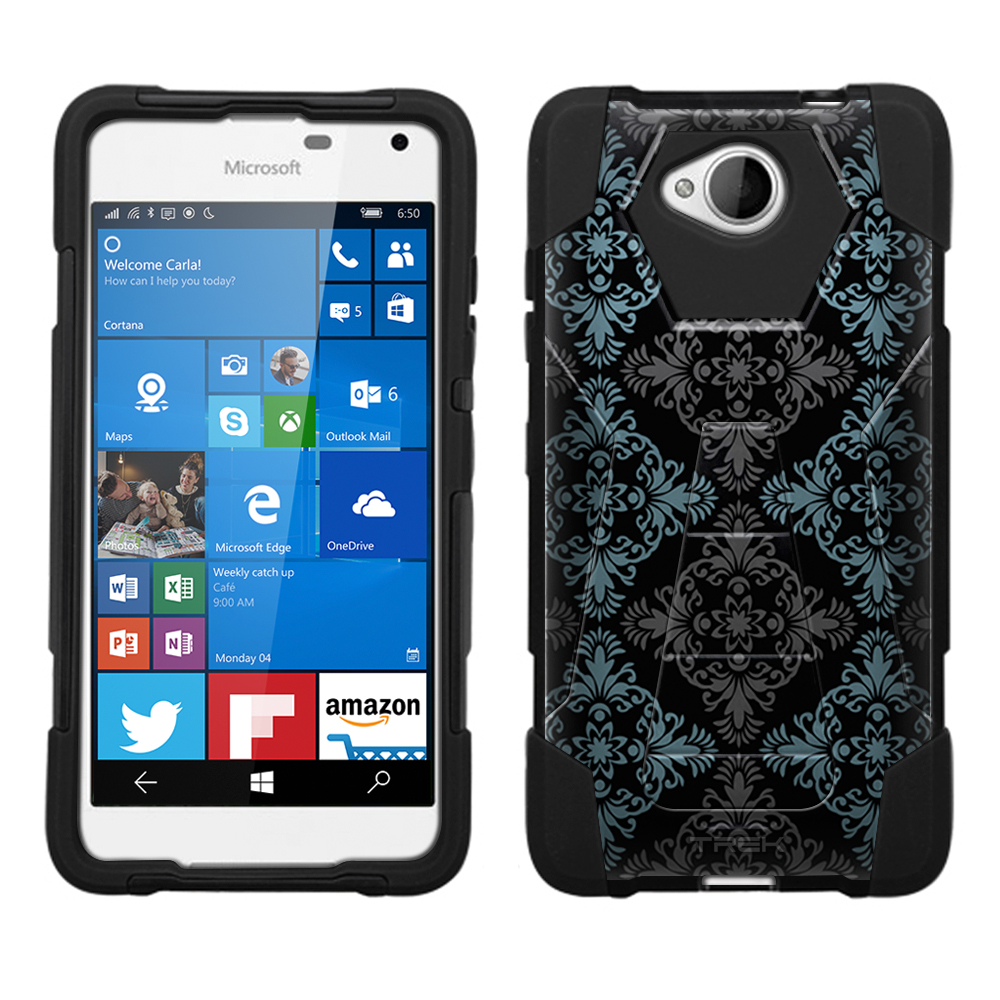 Microsoft Lumia 650 Hybrid Stand Case - Victorian Vintage Blue and Grey on Black
